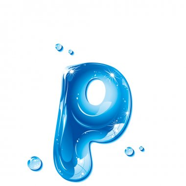 ABC series - Water Liquid Letter - Small Letter p
