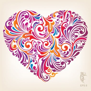 Ornamental Colored Heart Pattern