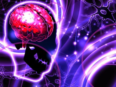 Brain and neurons abstract background