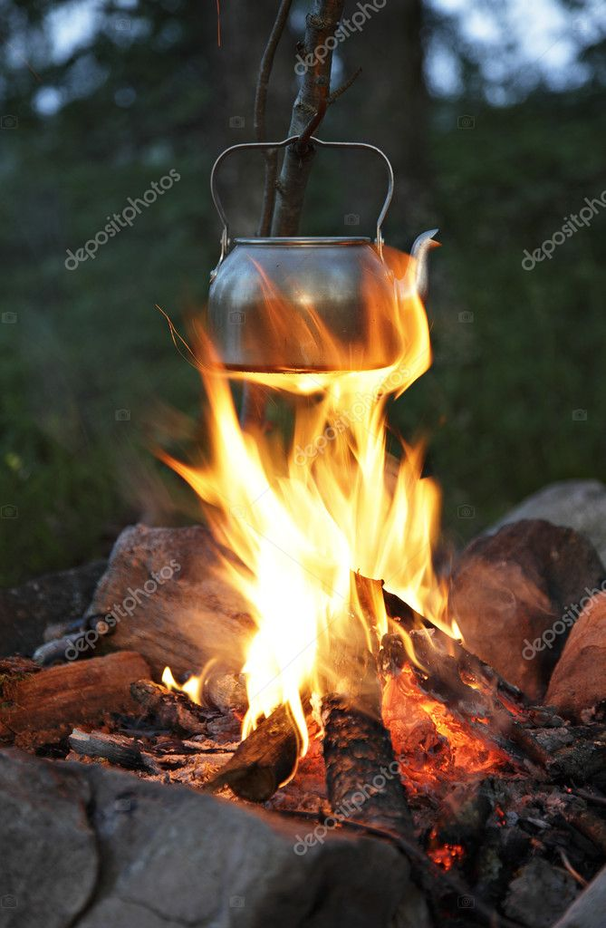 Teapot over campfire