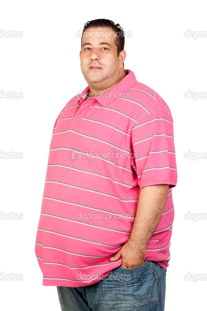 Worried fat man with pink shirt — Stock Photo © Gelpi #9424548