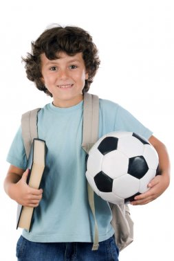 Student boy blond with a soccer ball