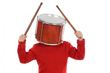 Child with a drum in the head