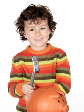 Adorable child with hammer and money box isolated