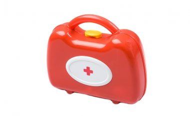 Red toy medical kit isolated on white stock vector