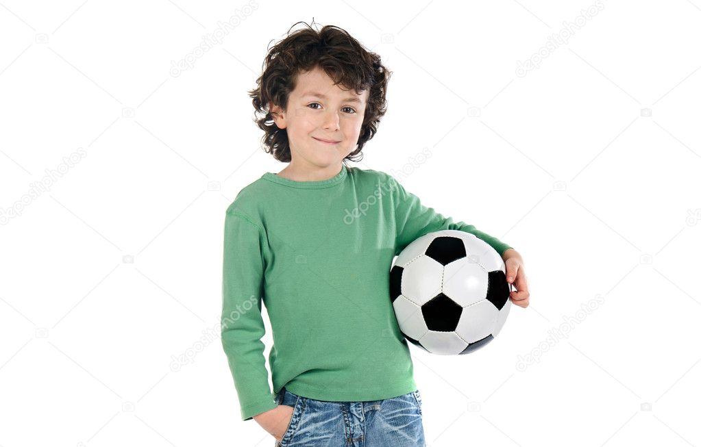 enfant avec ballon de foot photographie gelpi 9433159. Black Bedroom Furniture Sets. Home Design Ideas