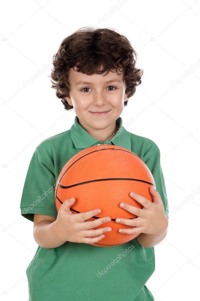 012b99b9c80 Rozkošný chlapec s míčem přes bílé pozadí — Fotografie od ...