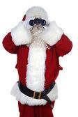 Santa claus s dalekohledem