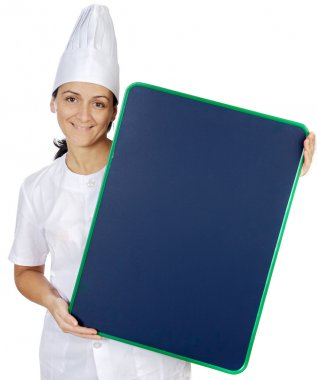 Happy attractive cook woman with plate