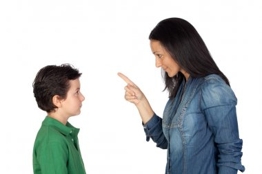 Mother scolding her son