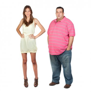 Slim girl and fat man
