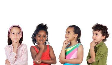 Multiethnic group of children thinking