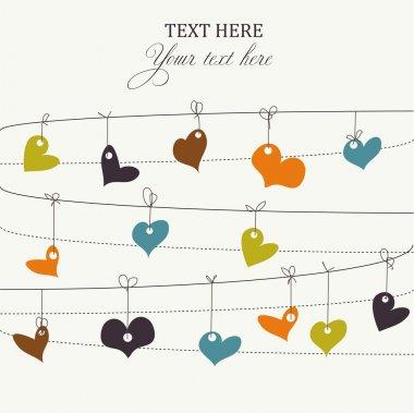 Background with stylish doodle colorful hearts clip art vector