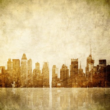 Grunge image of new york skyline