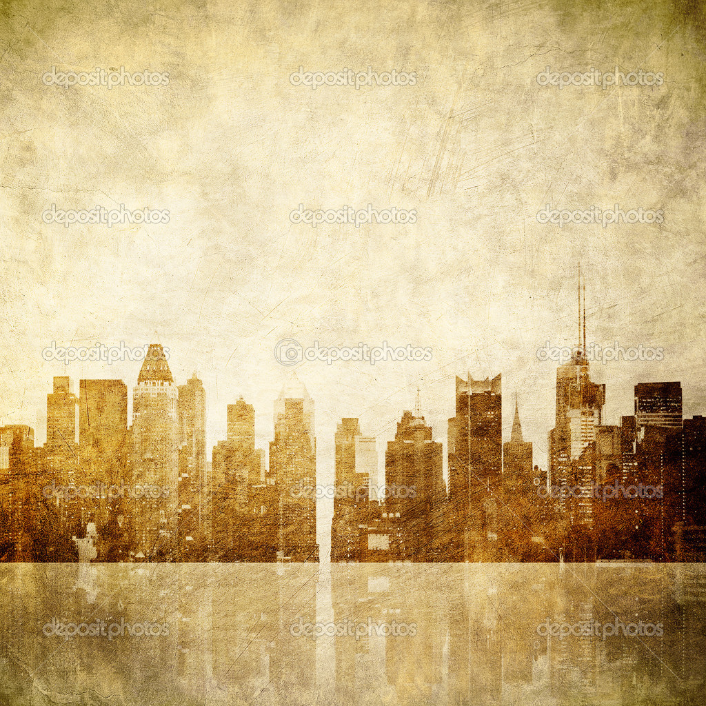 Grunge image of new york skyline — Stock Photo © javarman #9322988