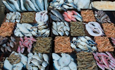 Fresh seafood at a fish market