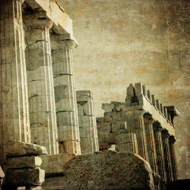 Vintage image of greek columns, Acropolis, Athens, Greece