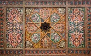 """Картина, постер, плакат, фотообои """"деревянный потолок, восточные украшения из Хивы, Узбекистан"""", артикул 9474711"""