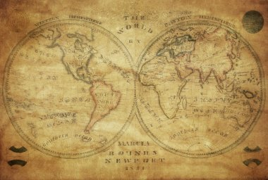 Vintage map of the world 1833