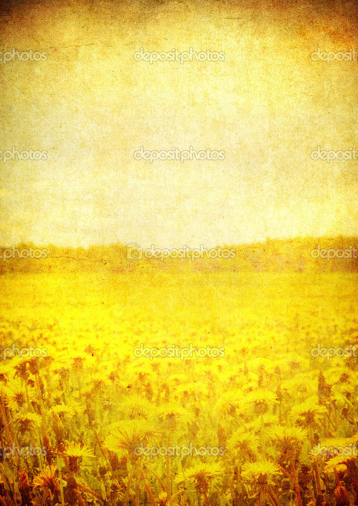 Image of blooming field over vintage paper