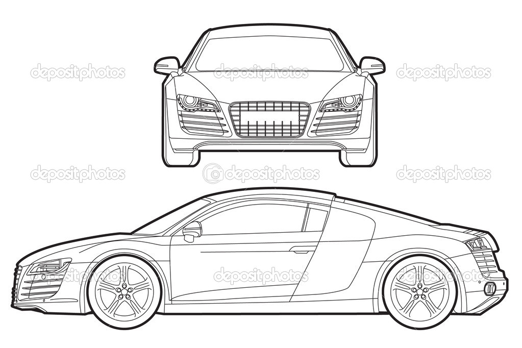 Audi R8 Blueprint U2014 Stock Vektor