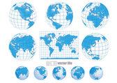Gyűjteménye vektor földgömbök, a world map