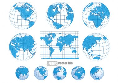 Collection of vector globes with world map