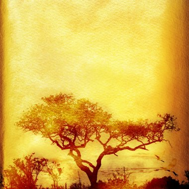 Grunge African background with tree.