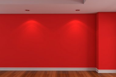 Empty room red color wall