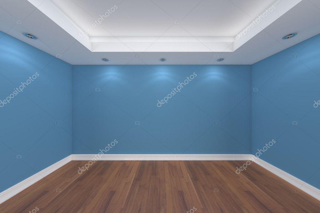 Render interior casa con pared de la sala vac a azul - Color azul verdoso para paredes ...