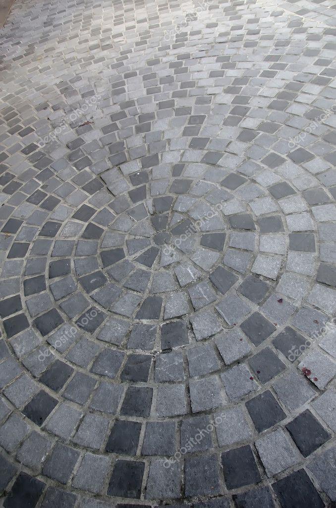 Vloertegels Voor Buiten.Close Up Van Cirkel Stenen Vloertegels Voor Buiten Stockfoto
