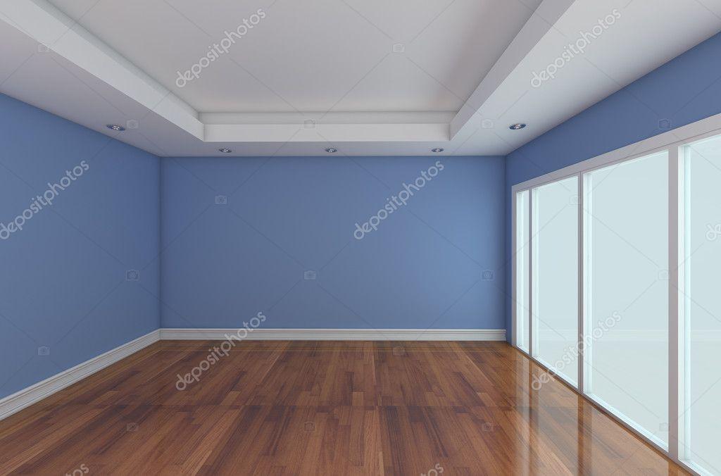 빈 객실 장식 블루 벽과 나무 바닥 — 스톡 사진 © sumetho #9764554