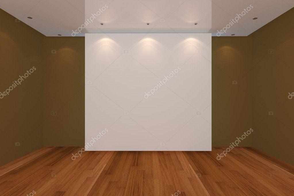 Home Interior Rendering Mit Leeren Raum Braune Farbe Wand Und Holz Boden  Für Anzeige U2014 Foto Von Sumetho