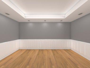 Empty room gray color wall