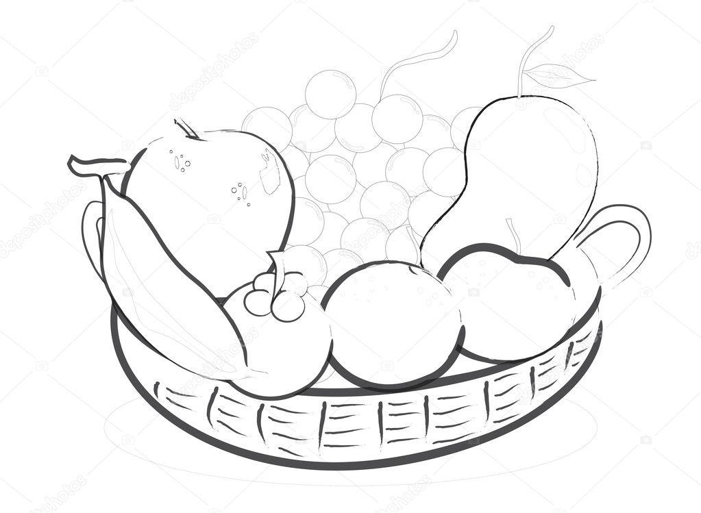 Cesta de alimentos para colorear | alimentos en la cesta — Foto de ...