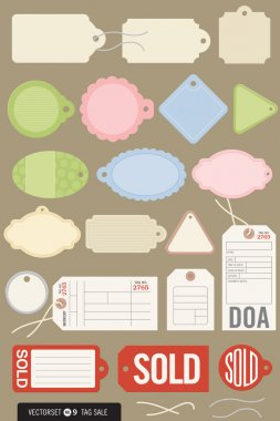 Set of 20 Different Vector Tags