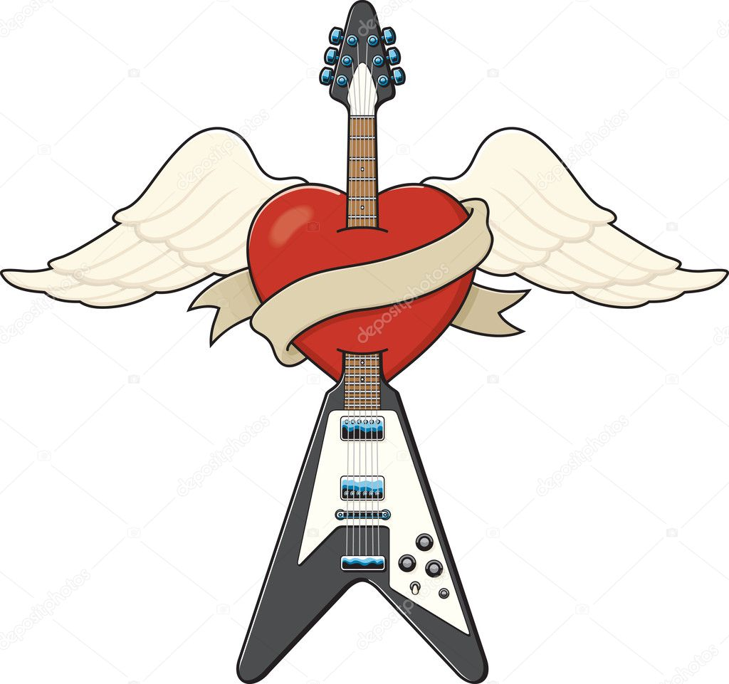 Tattoo-style guitar illustration