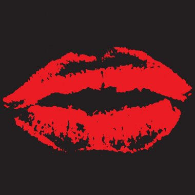 Red lips on black background