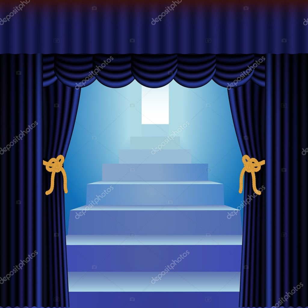 Blue Curtains Framing Blue Staircase Leading To Bright Open Door U2014 Vector  By DebRus