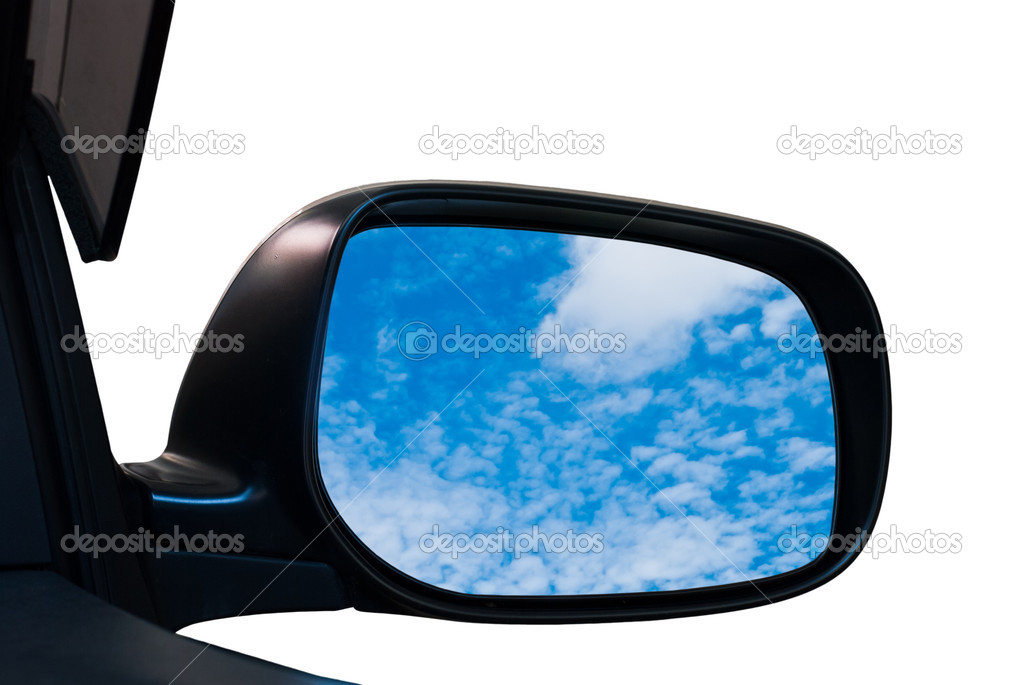 Sky in a car mirror isolated on white background