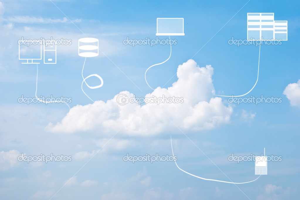 Multiple devices and cloud computing concept against the blue sky