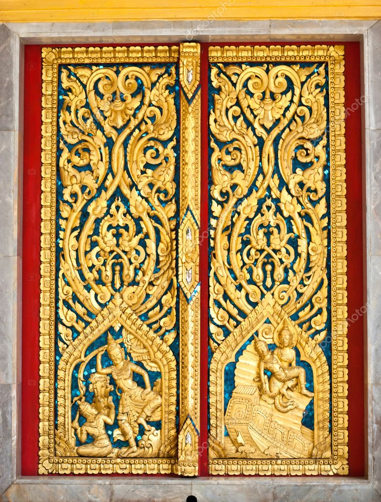Pattern in traditional Thai style art on door of the temple in ...