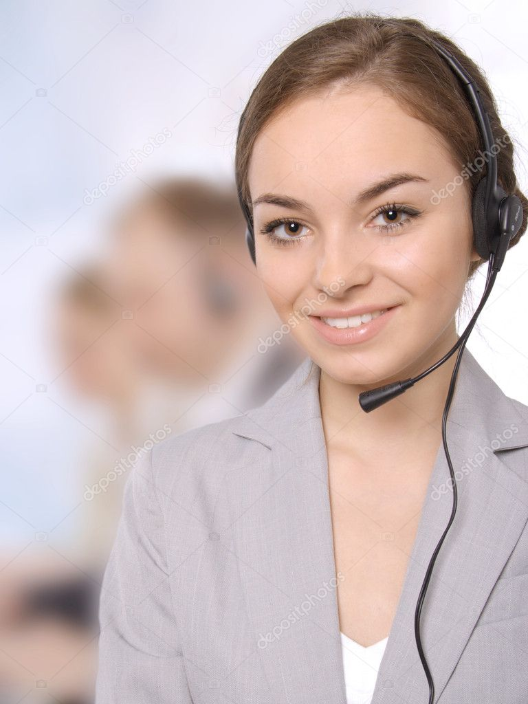 Closeup of a female customer service representative