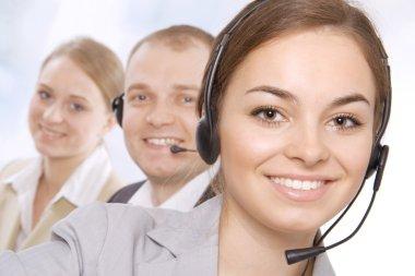 Closeup portrait of a happy customer service representatives