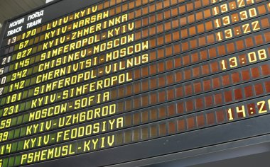 Schedule board of a railway station in Kyiv