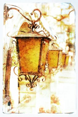 Old lanterns, picture in retro style