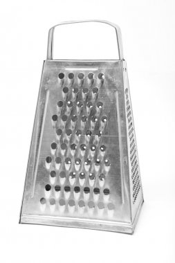 Metal grater isolated over white. Studio photography.