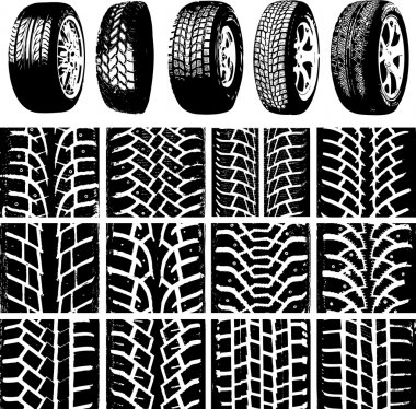 Car wheels and tyre tracks