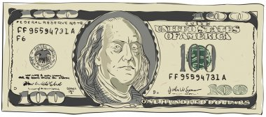 One hundred dollars. Vector illustration