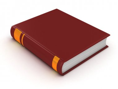 Blank book with red cover 3d illustration